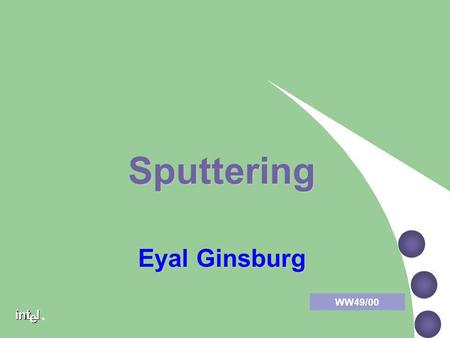 ® Sputtering WW49/00 Eyal Ginsburg ® Sputtering Contents Metallization structure Metallization structure Uses for different layers Uses for different.