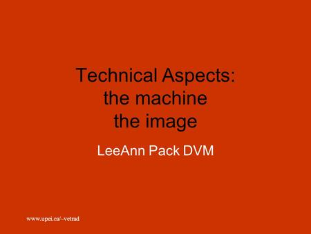 Www.upei.ca/~vetrad Technical Aspects: the machine the image LeeAnn Pack DVM.