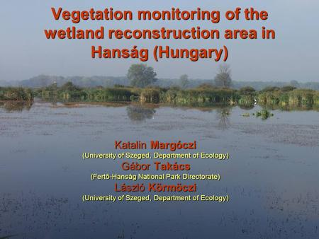 Vegetation monitoring of the wetland reconstruction area in Hanság (Hungary) Katalin Margóczi (University of Szeged, Department of Ecology) Gábor Takács.