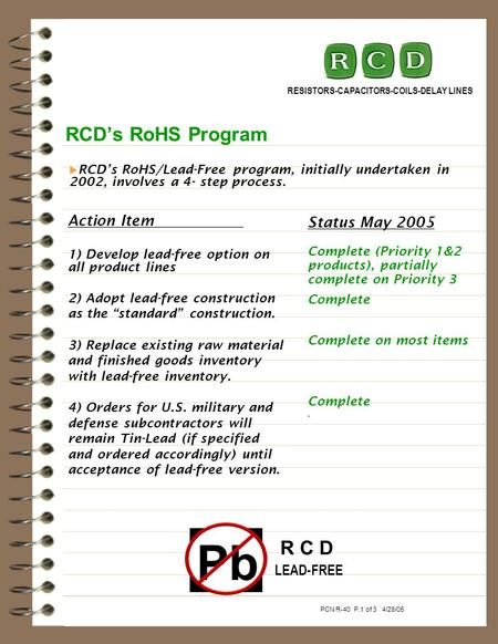 RCDs RoHS Program RESISTORS-CAPACITORS-COILS-DELAY LINES Action Item 1) Develop lead-free option on all product lines 2) Adopt lead-free construction as.