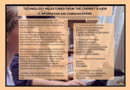 TECHNOLOGY MILESTONES FROM THE CHEMISTS VIEW II. INFORMATION AND COMMUNICATIONS Innovations in chemistry, engineering, and electronics from the end of.