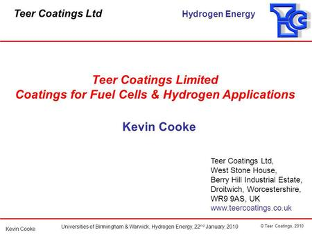 Coatings for Fuel Cells & Hydrogen Applications