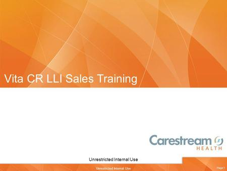 Vita CR LLI Sales Training