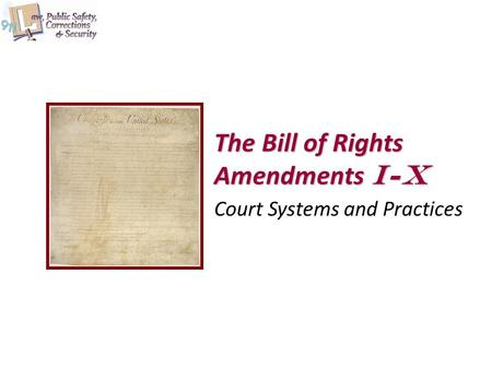 The Bill of Rights Amendments I-X Court Systems and Practices.