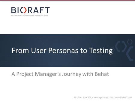 From User Personas to Testing