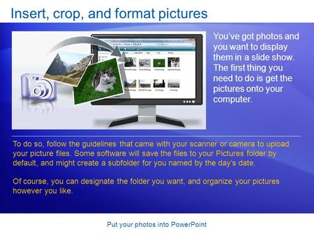 Put your photos into PowerPoint Insert, crop, and format pictures Youve got photos and you want to display them in a slide show. The first thing you need.