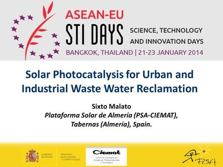 Solar Photocatalysis for Urban and Industrial Waste Water Reclamation