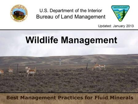 U.S. Department of the Interior Bureau of Land Management Wildlife Management Updated: January 2013.