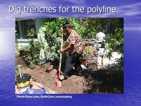 Dig trenches for the polyline Photo Deva Luna, EarthCare Landscaping.