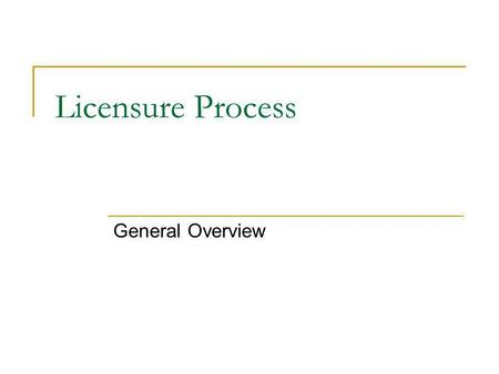 Licensure Process General Overview. Becoming Licensed There are 2 basic parts to becoming licensed Successful completion of the state required licensure.