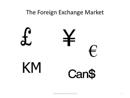 The Foreign Exchange Market Copyright 2013 by Diane S. Docking1 KM.