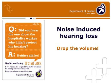 Noise induced hearing loss Drop the volume!. Why care about noise in your workplace? –Good employers care about their workers –The costs of hearing loss.