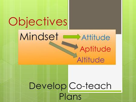 Objectives Mindset Attitude Aptitude Altitude Develop Co-teach Plans.
