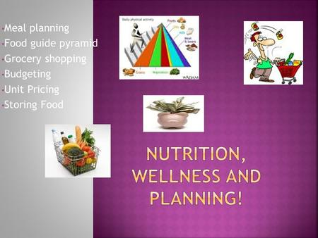 Meal planning Food guide pyramid Grocery shopping Budgeting Unit Pricing Storing Food.