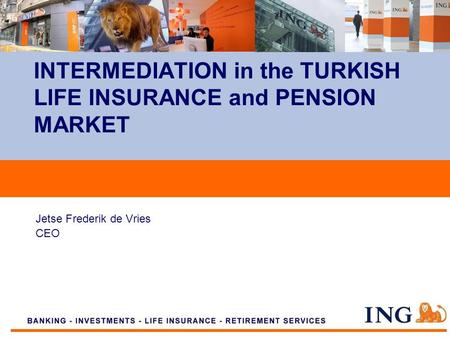 Do not put content on the brand signature area Jetse Frederik de Vries CEO INTERMEDIATION in the TURKISH LIFE INSURANCE and PENSION MARKET.