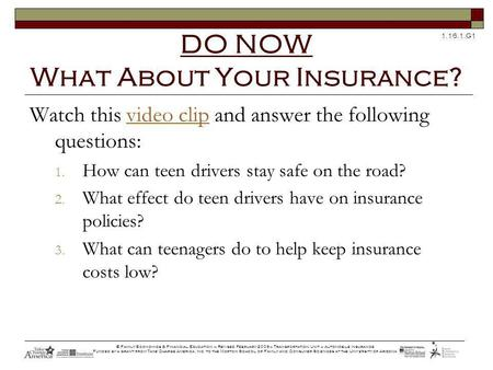 1.16.1.G1 © Family Economics & Financial Education – Revised February 2009– Transportation Unit – Automobile Insurance Funded by a grant from Take Charge.