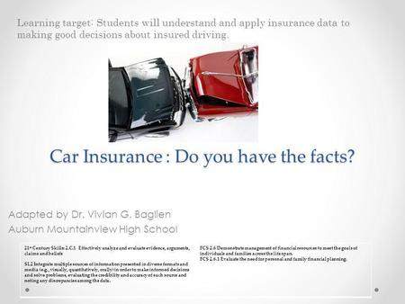Car Insurance : Do you have the facts? Adapted by Dr. Vivian G. Baglien Auburn Mountainview High School Learning target: Students will understand and apply.