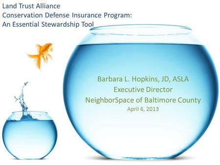Land Trust Alliance Conservation Defense Insurance Program: An Essential Stewardship Tool Barbara L. Hopkins, JD, ASLA Executive Director NeighborSpace.