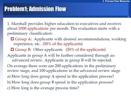 1 3. Process Flow Measures Problem1; Admission Flow 1. Marshall provides higher education to executives and receives about 1000 applications per month.