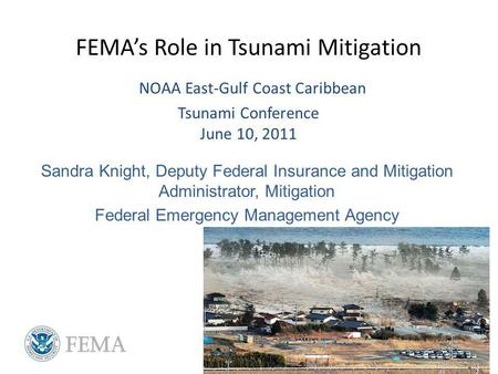 FEMAs Role in Tsunami Mitigation NOAA East-Gulf Coast Caribbean Tsunami Conference June 10, 2011 Sandra Knight, Deputy Federal Insurance and Mitigation.