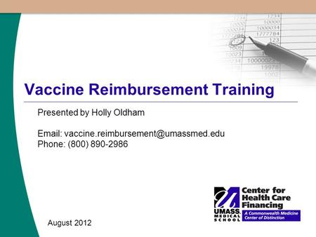 Vaccine Reimbursement Training