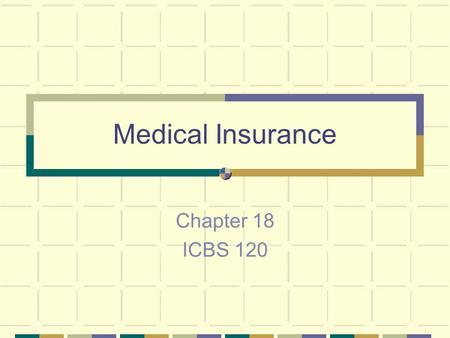 Medical Insurance Chapter 18 ICBS 120. Understanding the Role of Health Insurance Designed to help individuals and families compensate for high costs.