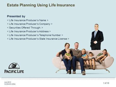 1 of 16 Estate Planning Using Life Insurance July 2013 VLCM-OC-239A Presented by.