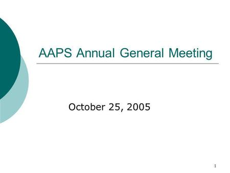 1 AAPS Annual General Meeting October 25, 2005. 2 Agenda 1.0 Call Meeting to order – 12:05pm 2.0 Acceptance of Agenda 3.0 Adoption of Minutes of last.