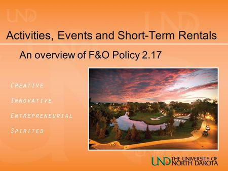 Activities, Events and Short-Term Rentals An overview of F&O Policy 2.17.