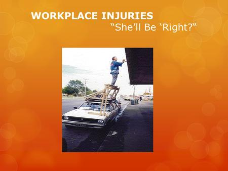 WORKPLACE INJURIES Shell Be Right?. The Current Issue: Sub-Topic and Selected Target Population Workplace Injuries = Significant Financial & Social Burden.
