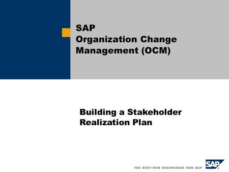 SAP Organization Change Management (OCM)