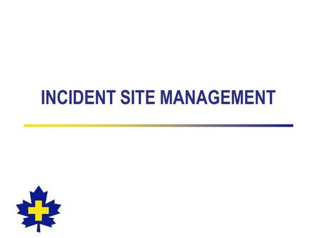 INCIDENT SITE MANAGEMENT. Incident Site Management The effective and systematic use of all resources to deal with a situation involving a patient All.