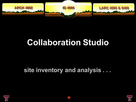 ARCH 4602 LARC 4506 & 6406 ID 4606 Collaboration Studio site inventory and analysis...