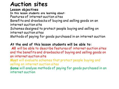 Auction sites Lesson objectives In this lesson students are learning about: Features of internet auction sites Benefits and drawbacks of buying and selling.