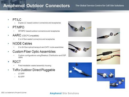 The Global Service Centre for Cell Site Solutions Amphenol Outdoor Connectors PT/LC –Duplex LC based outdoor connectors and receptacles PT/MPO MT/MPO based.