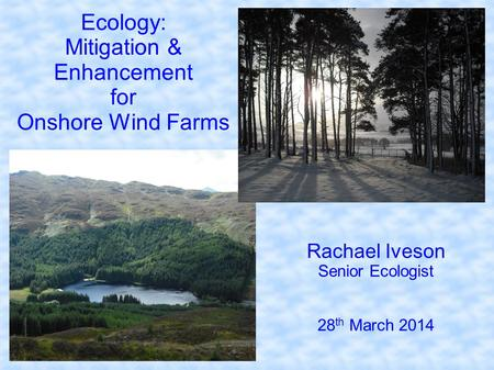 Ecology: Mitigation & Enhancement for Onshore Wind Farms Rachael Iveson Senior Ecologist 28 th March 2014.
