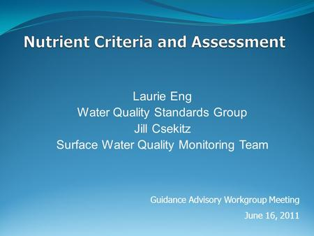Laurie Eng Water Quality Standards Group Jill Csekitz Surface Water Quality Monitoring Team Guidance Advisory Workgroup Meeting June 16, 2011.