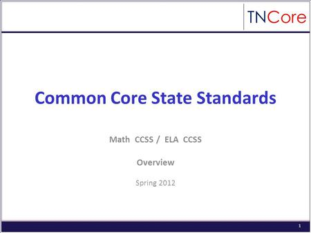 1 Common Core State Standards Math CCSS / ELA CCSS Overview Spring 2012.