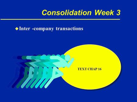 Consolidation Week 3 u Inter -company transactions TEXT CHAP 16.