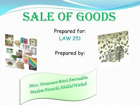 SALE OF GOODS Prepared for: LAW 251 Prepared by:.