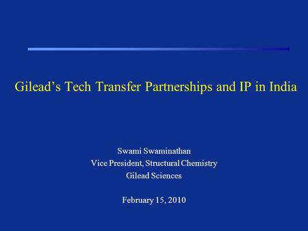 Gilead's Tech Transfer Partnerships and IP in India