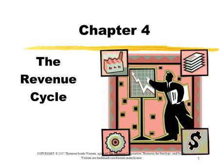 1 Chapter 4 The Revenue Cycle COPYRIGHT © 2007 Thomson South-Western, a part of The Thomson Corporation. Thomson, the Star logo, and South- Western are.