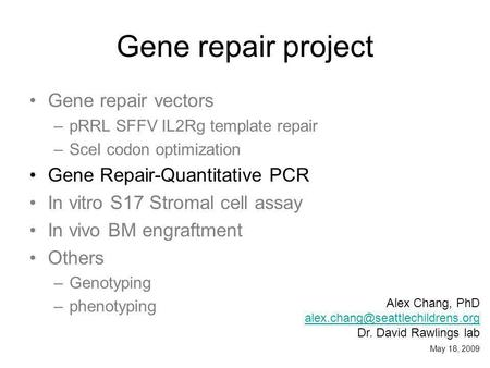 Gene repair project Gene repair vectors –pRRL SFFV IL2Rg template repair –SceI codon optimization Gene Repair-Quantitative PCR In vitro S17 Stromal cell.