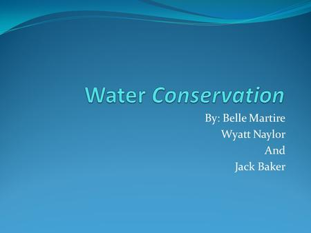 By: Belle Martire Wyatt Naylor And Jack Baker. Things That We Do To Waste Water Leave water on while we brush teeth Take long showers We may leave the.