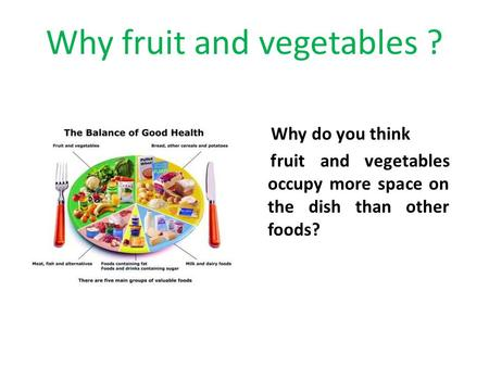 Why fruit and vegetables ? Why do you think fruit and vegetables occupy more space on the dish than other foods?