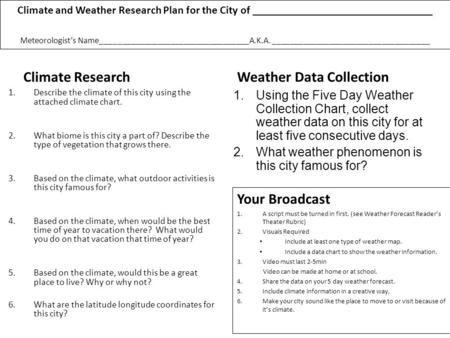 Climate and Weather Research Plan for the City of ________________________________ Meteorologists Name__________________________________A.K.A. ____________________________________.