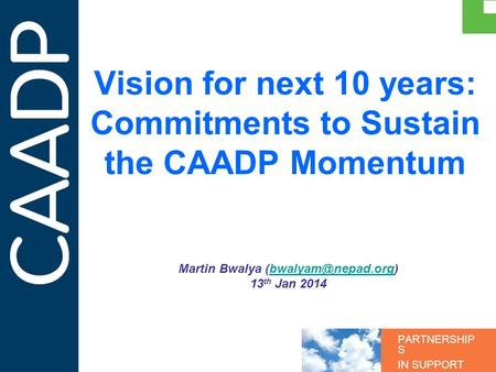 PARTNERSHIP S IN SUPPORT OF CAADP Vision for next 10 years: Commitments to Sustain the CAADP Momentum Martin Bwalya