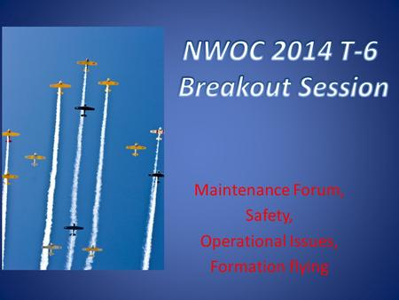 Maintenance Forum, Safety, Operational Issues, Formation flying.