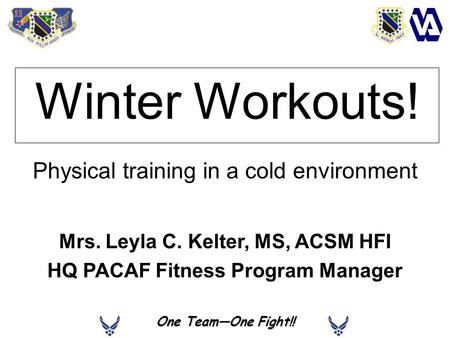 One TeamOne Fight!! Winter Workouts! Physical training in a cold environment Mrs. Leyla C. Kelter, MS, ACSM HFI HQ PACAF Fitness Program Manager.