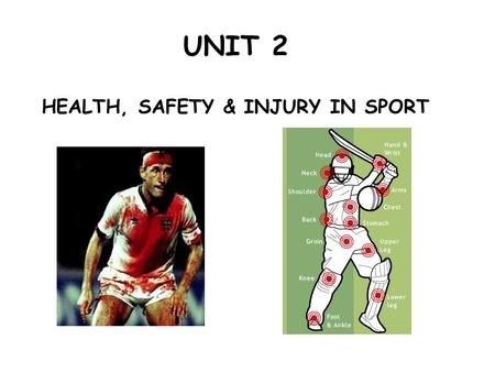 UNIT 2 HEALTH, SAFETY & INJURY IN SPORT What is this unit all about? This unit will give you a good understanding of a range of health and safety issues.